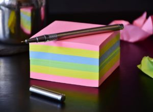 a stack of sticky notes