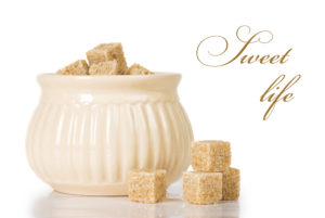 Bowl of sugar cubes titled Sweet Life