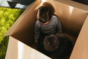A child in a box with a cat