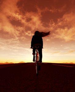A bike ride at sunrise